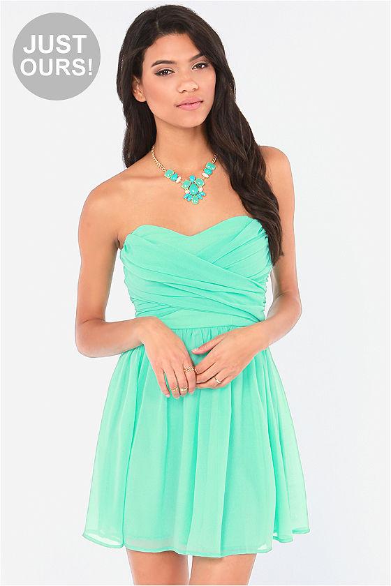 Lovely Strapless Dress - Mint Green Dress - Party Dress - $49.00