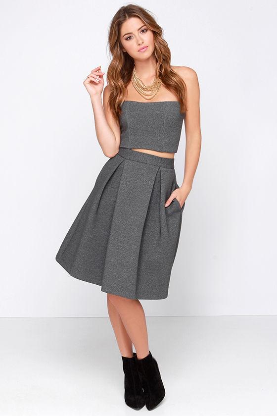 Chic Grey Skirt - Grey Midi Skirt - High Waisted Skirt - $73.00
