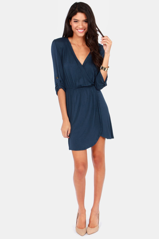 Overlap of Luxury Navy Blue Wrap Dress at Lulus.com!