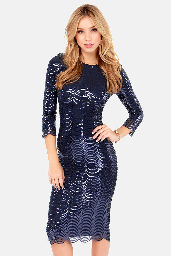 TFNC Paris Dress - Navy Blue Dress - Midi Dress - Bodycon Dress ...