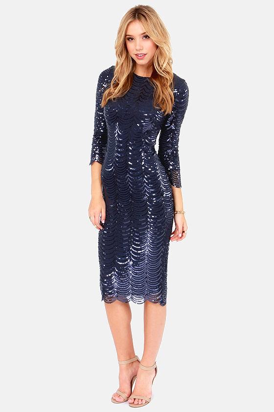 TFNC Paris Dress - Navy Blue Dress - Midi Dress - Bodycon Dress ...