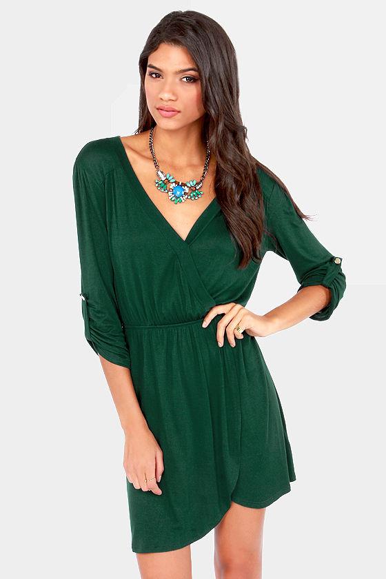 Cute Dark Green Dress - Wrap Dress - Tulip Dress - $33.00