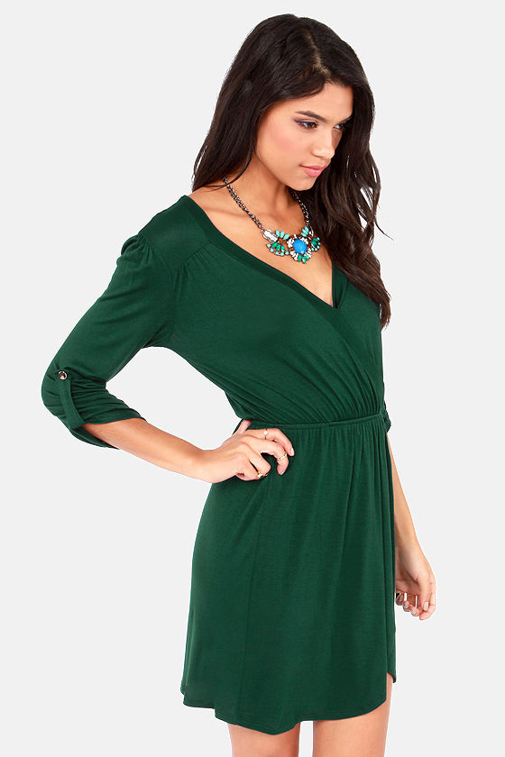 Overlap of Luxury Dark Green Wrap Dress at Lulus.com!