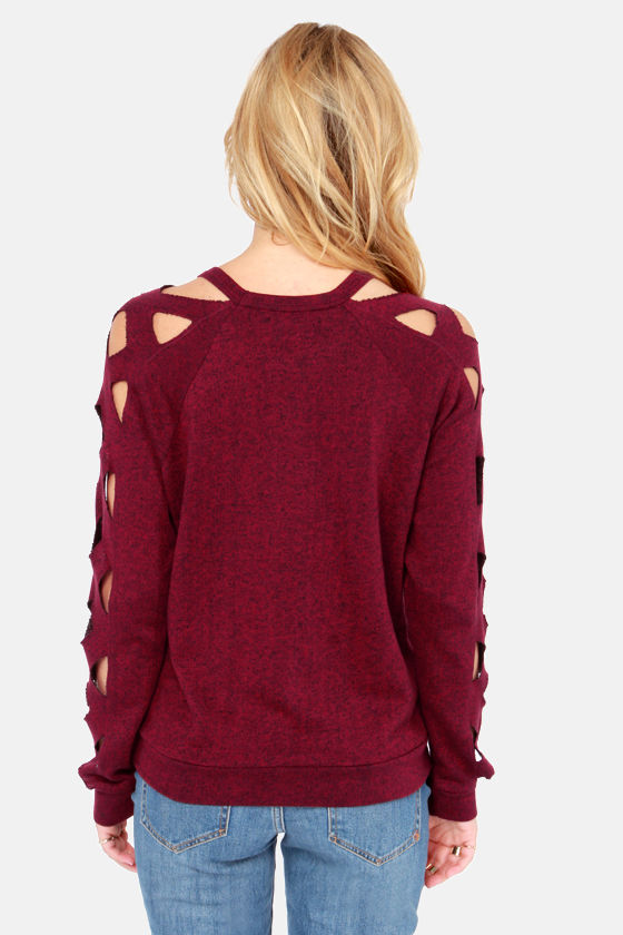 Obey Gate Keeper - Wine Red Sweater - Cutout Sweater - $65.00