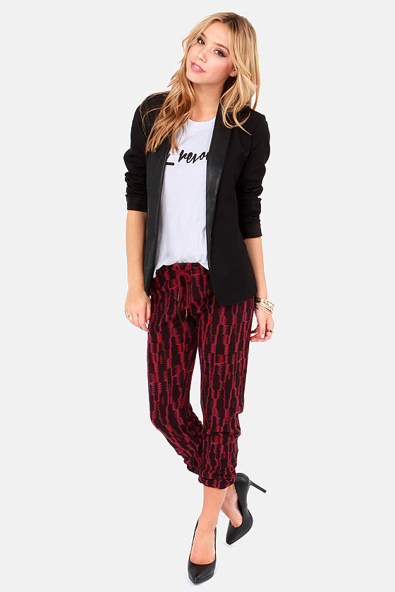 Obey Lola Black and Burgundy Print Sweatpants at Lulus.com!