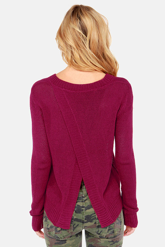Bread and Butterfly Burgundy Sweater at Lulus.com!