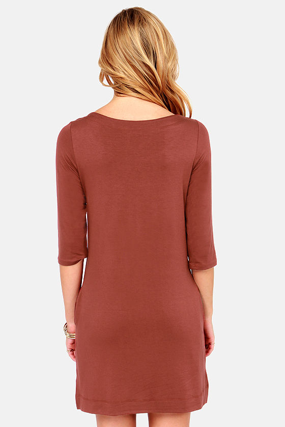 LULUS Exclusive Lots of Love Cinnamon Brown Shift Dress at Lulus.com!