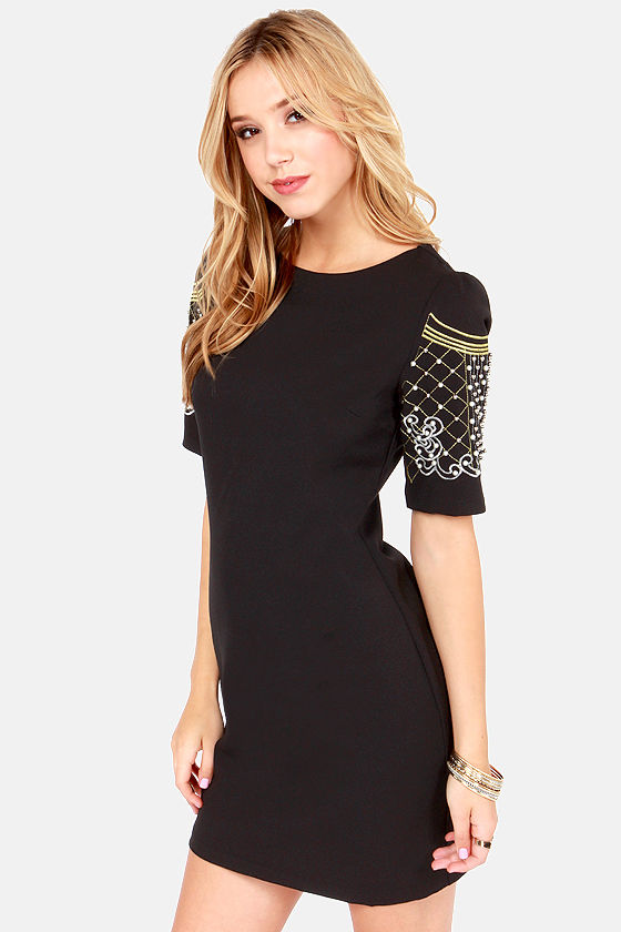 Sleeve an Impression Beaded Black Dress at Lulus.com!