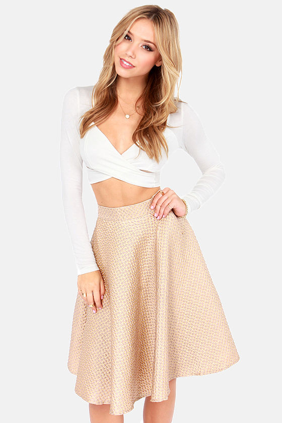 f37a431669c5 Cute Jacquard Skirt - Gold Skirt - Taupe Skirt - Midi Skirt - $60.00