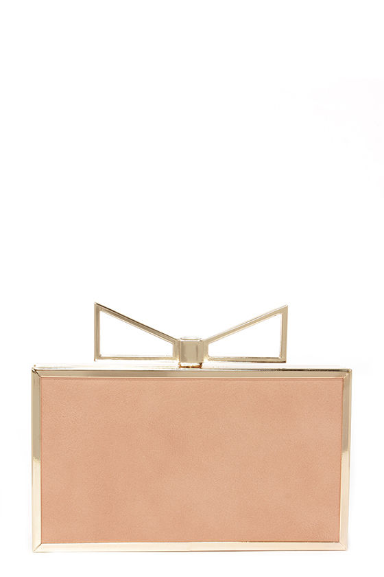 Cute Blush Clutch - Gold Clutch - Bow Clutch - $37.00