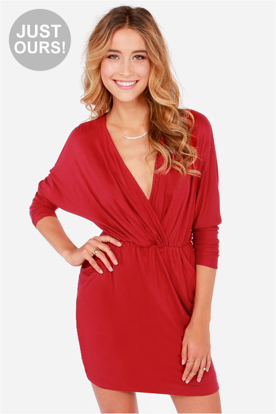 1e5ad5d7340 Sexy Wine Red Dress - Wrap Dress - Long Sleeve Dress -  48.00
