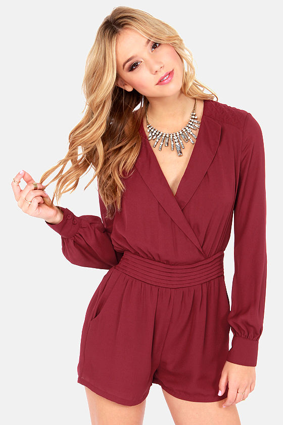 Head Start Long Sleeve Burgundy Romper at Lulus.com!