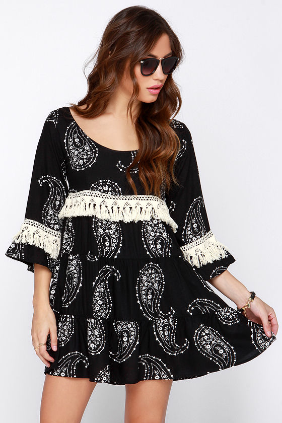 Lucy Love Vacation Forever Black Print Dress Paisley