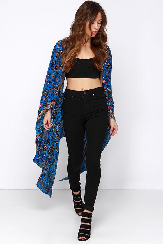 Amuse Society Brooklyn - Blue Kimono Top - Convertible ...
