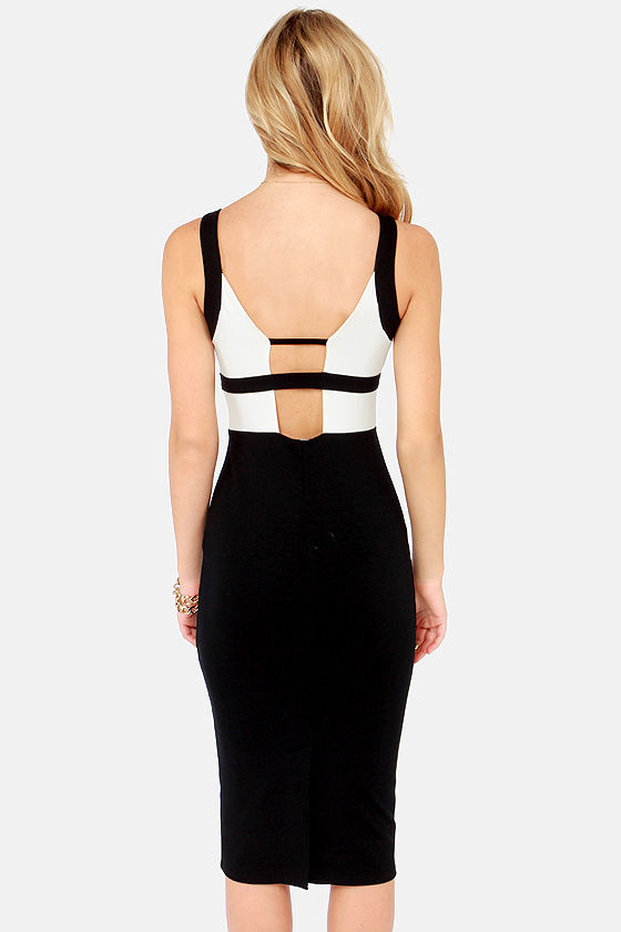 LULUS Exclusive Top Dollar Dame Ivory and Black Midi Dress at Lulus.com!
