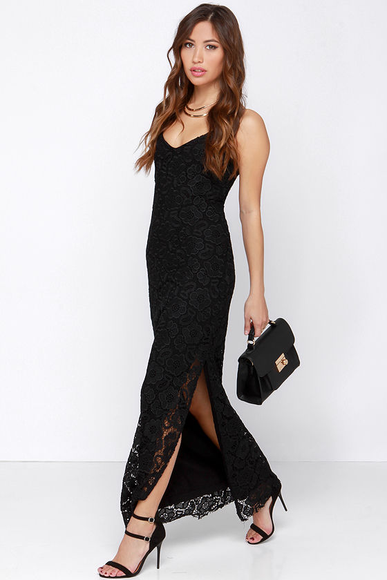 BB Dakota Rumer - Black Lace Dress - Lace Maxi Dress - $111.00