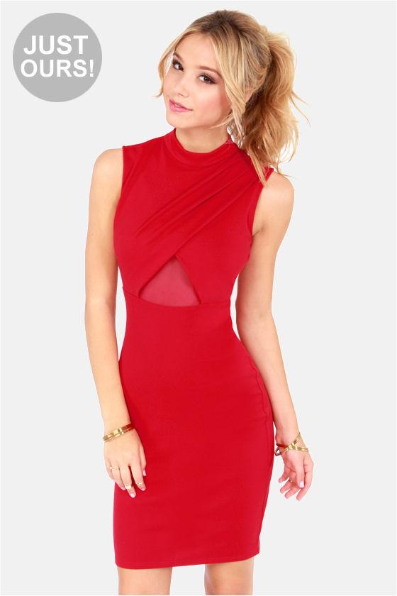 a2bccbf0ad07 Sexy Cutout Dress - Red Dress - Midi Dress - Bodycon Dress -  44.00