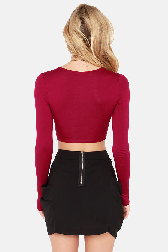 On Crop of the World Wine Red Crop Top at Lulus.com!