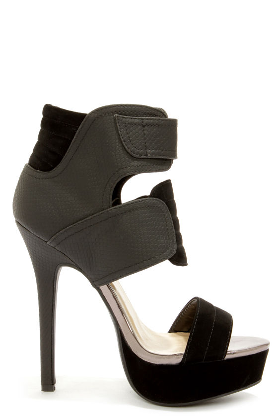 Shoe Republic LA Movado Black Snakeskin High Heel Sandals at Lulus.com!