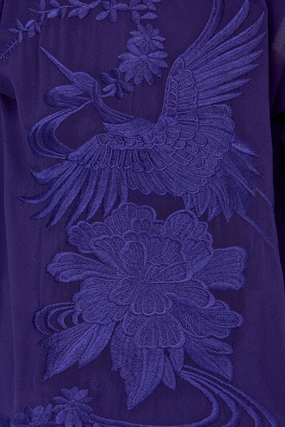 Crane Letter Embroidered Royal Blue Kimono Top at Lulus.com!