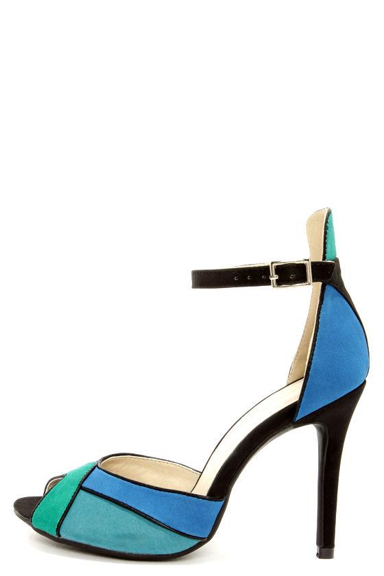 1204506bea45 Shoe Republic LA Vito Blue Color Block Peep Toe Heels