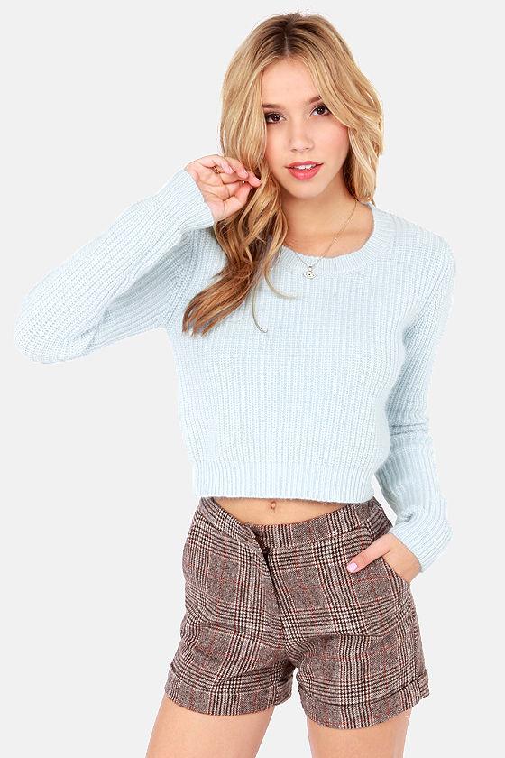 Cute Light Blue Sweater Crop Sweater Knit Sweater 6500