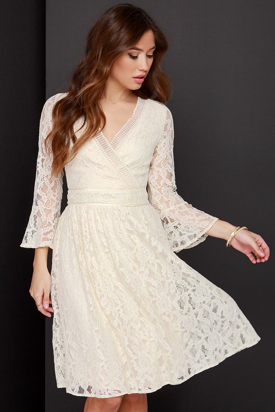 Lovely Cream Dress - Lace Dress - Fit and Flare Dress - $72.00