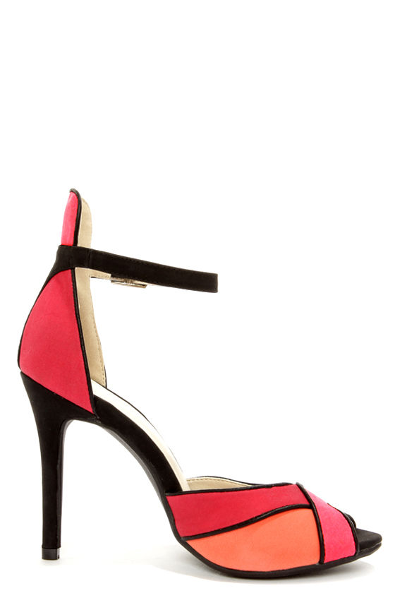 Shoe Republic LA Vito Red Color Block Peep Toe Heels at Lulus.com!