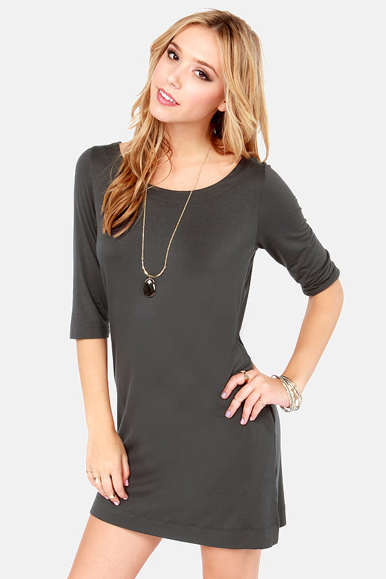 LULUS Exclusive Lots of Love Dark Grey Shift Dress at Lulus.com!