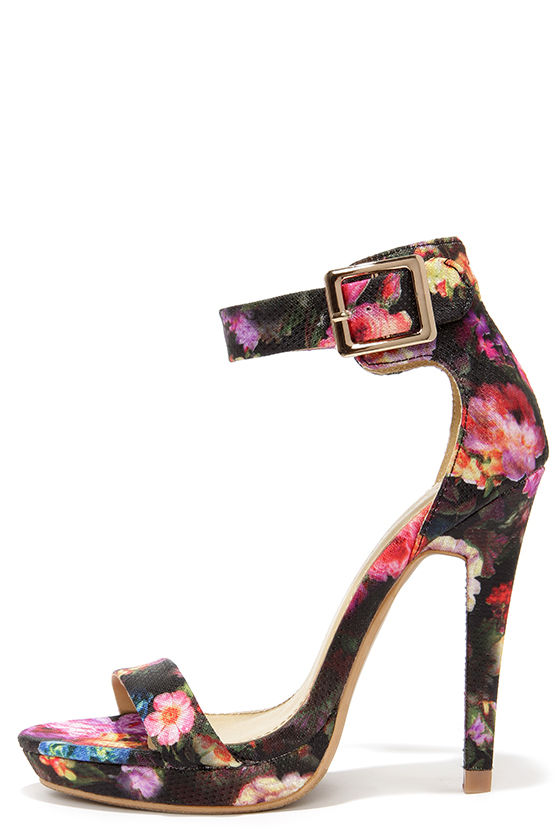Cute Black Heels - Floral Print Heels - Ankle Strap Heels - $38.00