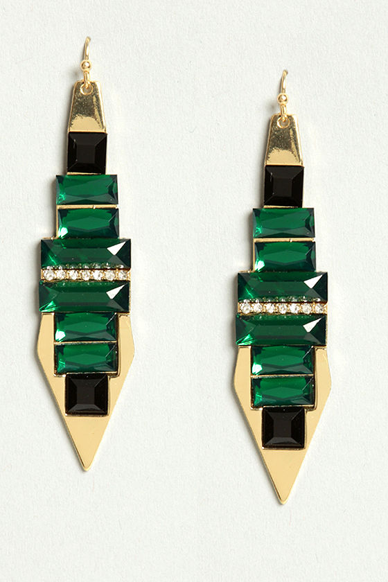 Reach For the Skyscraper Green Rhinestone Earrings at Lulus.com!