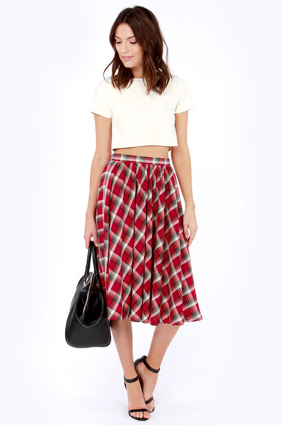 Cute Plaid Skirt - Red Skirt - Midi Skirt - High-Waisted Skirt ...