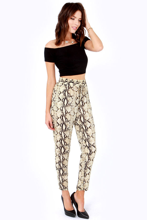 Snake It Up, Baby Snake Print Slouch Pants at Lulus.com!