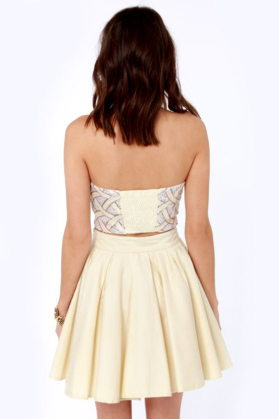 Fun and Dames Cream Sequin Bustier Top at Lulus.com!