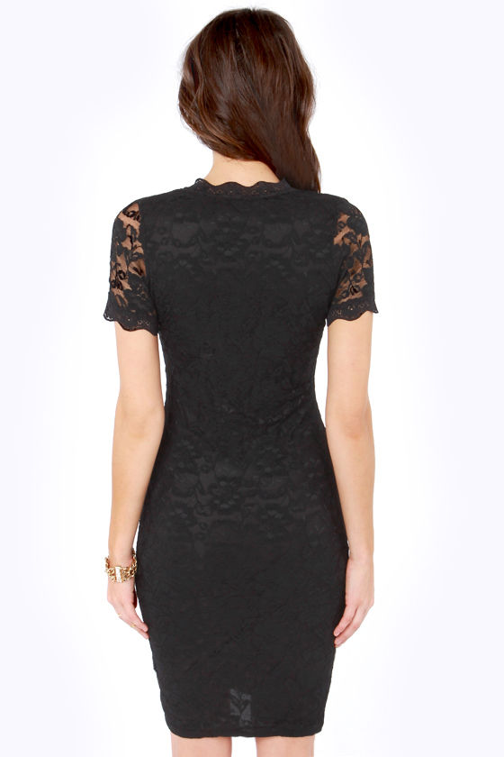 Tour de Allure Black Lace Dress at Lulus.com!