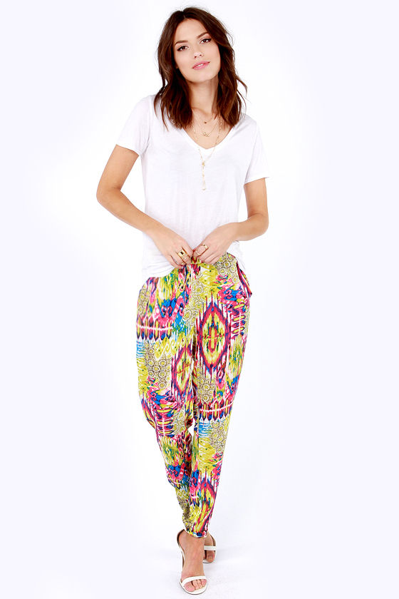 Excited to See You Chartreuse Print Harem Pants at Lulus.com!