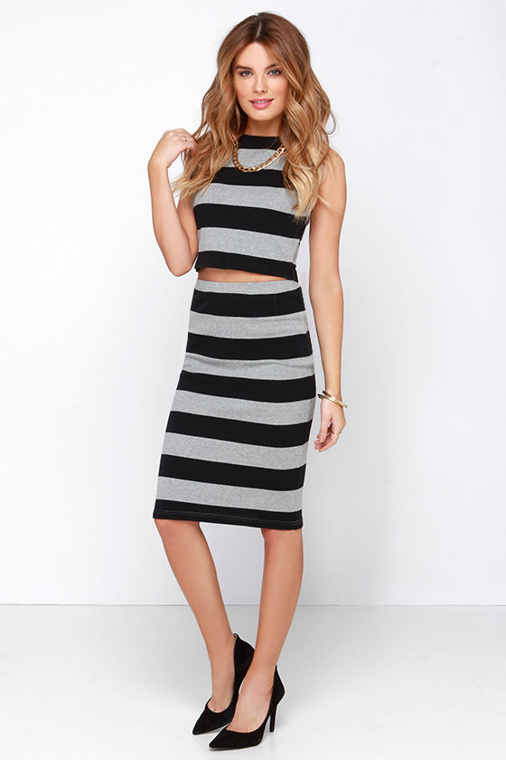 BB Dakota Phinley - Black and Grey Skirt - Striped Skirt - Pencil ...