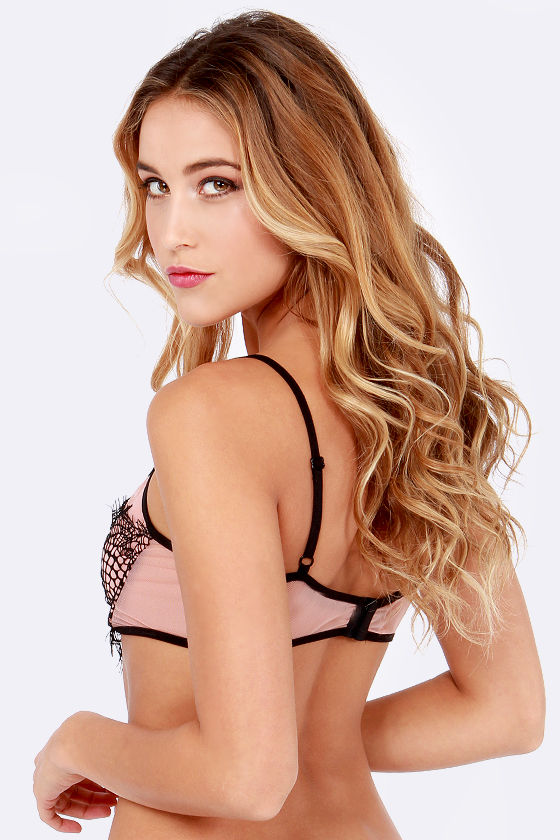 For Love & Lemons Very French Black and Blush Underwire Bra at Lulus.com!