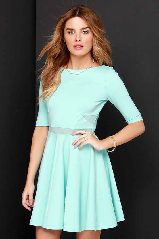 Black Swan Kelsey Mint Blue Dress Skater Dress 7100