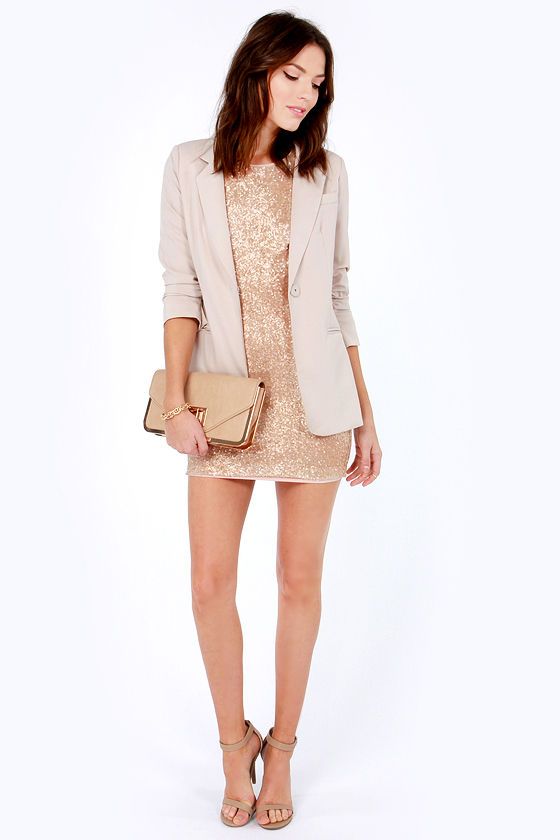 Life of the Party Champagne Sequin Dress at Lulus.com!