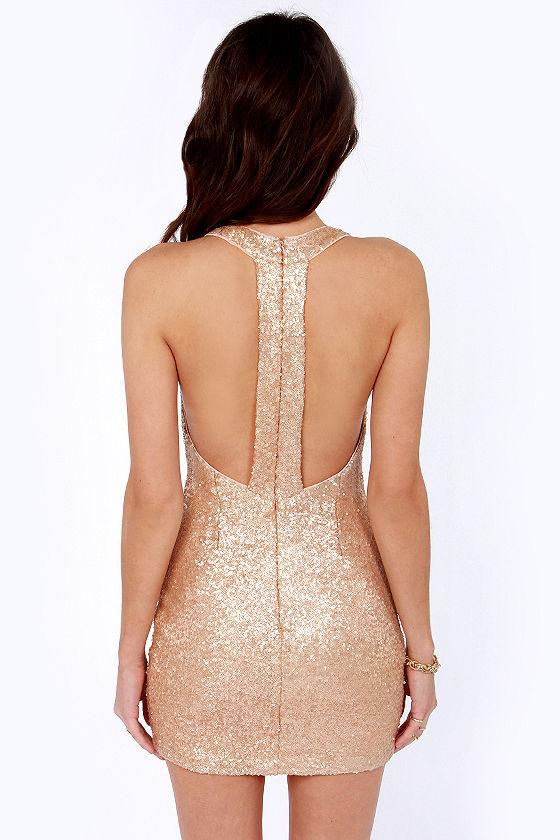 Pretty Champagne Dress - Sequin Dress - Bodycon Dress - $61.00