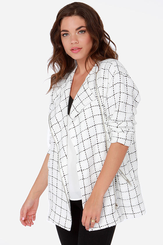 Nubby Checker Black and White Checkered Jacket at Lulus.com!