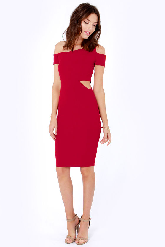 Cute Wine Red Dress - Cutout Dress - Off-the-Shoulder Dress - $30.00