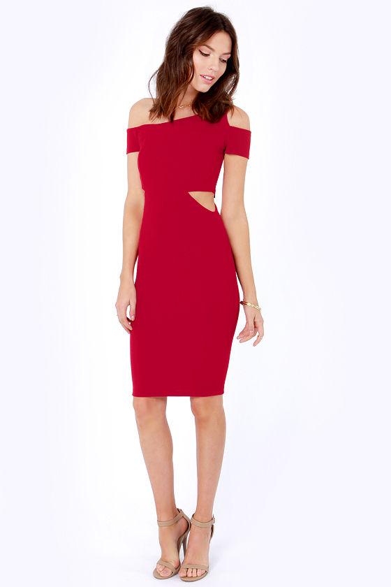 55c356711a2 Cute Wine Red Dress - Cutout Dress - Off-the-Shoulder Dress -  30.00