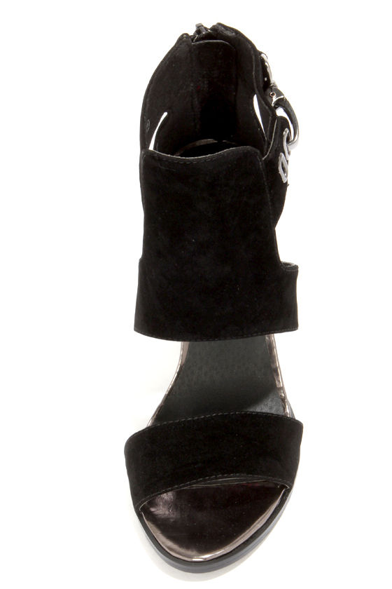 C Label Alix 1A Black and Gunmetal Cutout Booties at Lulus.com!