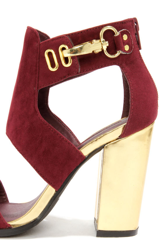C Label Alix 1A Burgundy and Gold Cutout Booties at Lulus.com!