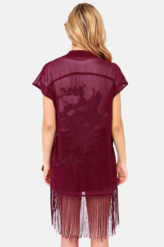 Crane Letter Embroidered Burgundy Kimono Top at Lulus.com!