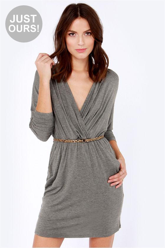 d0b48adc95de Sexy Grey Dress - Wrap Dress - Long Sleeve Dress -  48.00
