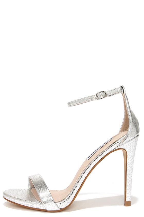 Silver Heels - Ankle Strap Heels - Single Sole Heels - $79.00