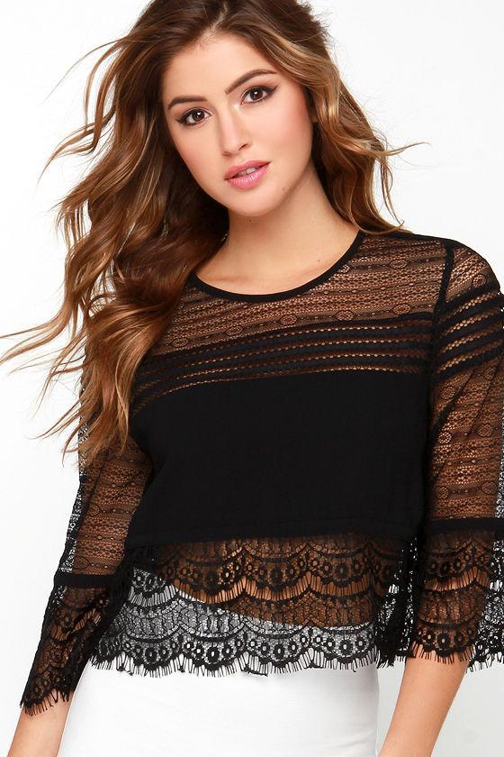 Must Be Lace Black Lace Crop Top